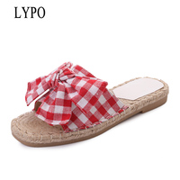 LYPO 2018 New Style Lattice Butterfly Knot Fashion Outside Women Slippers Soft Bottom Cool Slippers Female