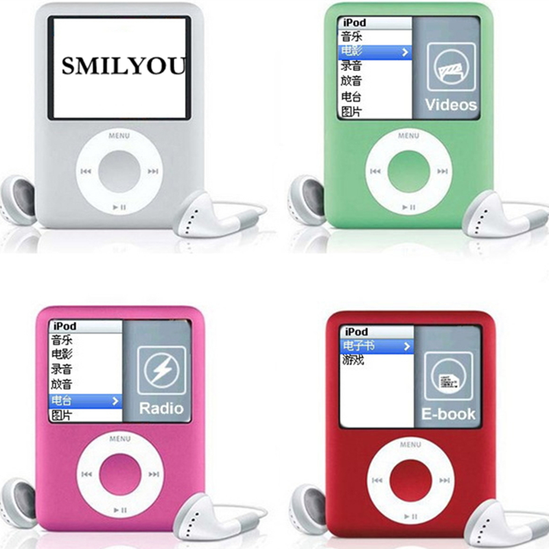 SMILYOU 1.8 inch LCD Screen MP3 MP4 Music Player Metal Housing 4BG 8GB 16GB 32GB MP4 Player Support E-Book Reading FM Radio