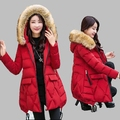 2016 Women Winter Jacket New Large size Thick Down Jacket Medium-long Fashion Cotton Coat Big Fur Collar Hooded Cotton CoatAB234