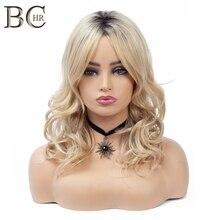 BCHR 검은 뿌리 금발의 가발 물결 모양의 합성 가발 여성을위한 긴 Ombre 가발 Glueless Cosplay Hair Wig