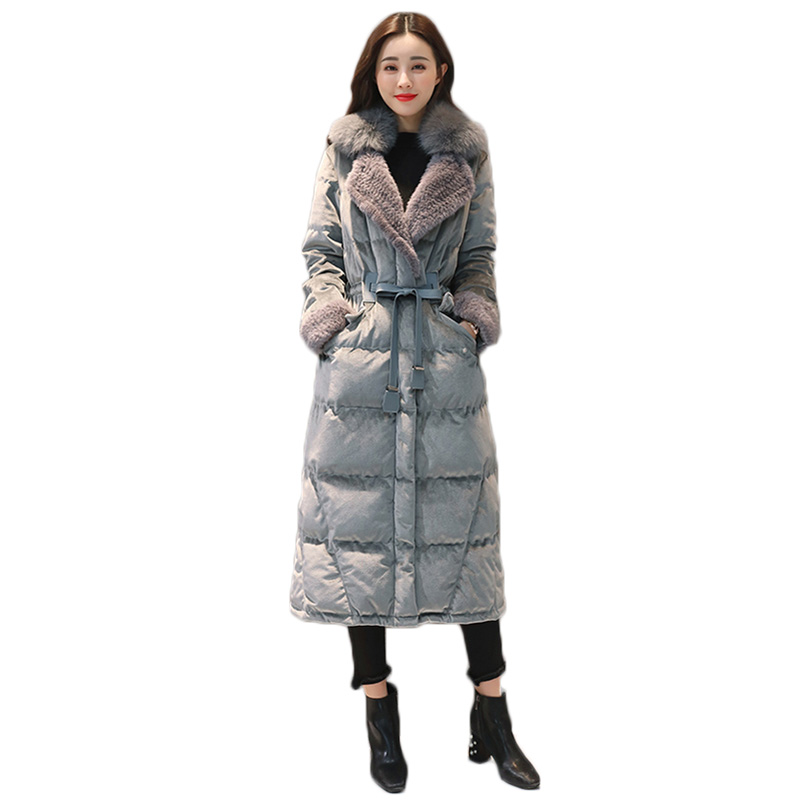 winter jacket women down jacket 2018 new winter jacket women fox fur collar overcoat gold velvet feather coat women long down