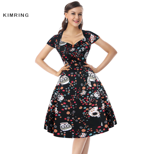 ddc28aee8d8 Kimring Women Summer Dress Halloween Party Dress Vintage Gothic Skull  Printed Casual Rockabilly Dress Plus Size Clothing