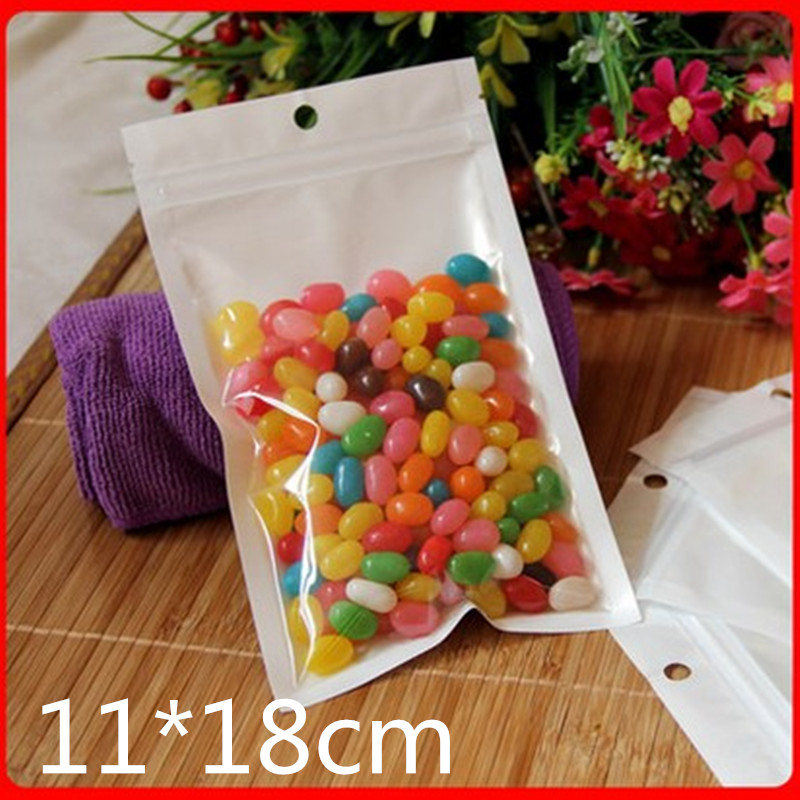 100pcs 11*18cm White Zip Lock Packaging Bag Reclosable Plastic Poly Clear Zipper Package Bags
