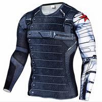 New Superhero Winter Soldier Bucky Anime 3D T Shirt Fitness Men Crossfit T Shirt Long Sleeve