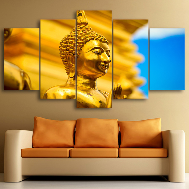 Poster Canvas Wall Art Painting Wall Modular 5 Panel Gold Buddha For ...