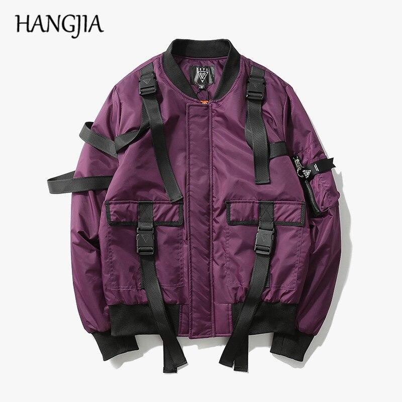 Original High Street Solid Color Strap Pilots MA1 Jacket Tide Brand Rock Punk Style Thickening Coat Tide Men Urban Clothing Tyga