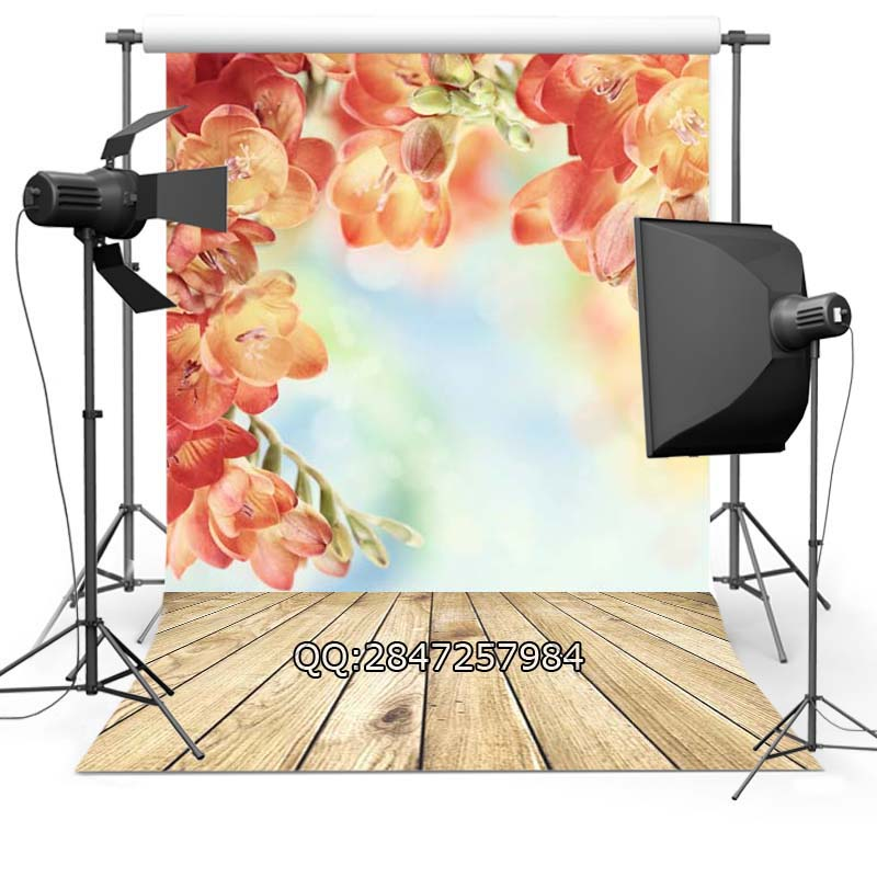 Vinyl Photography Background Flowers Valentine's Day Wood floor Computer printed Wedding Backdrops for Photo Studio F-2333 10x10ft vinyl backdrops for photography valentine day photography background qr217