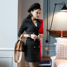 Autumn Womens Vintage Black /Red Color Patchwork Double Breasted Blazers Notched Office Lady Long Sleeve
