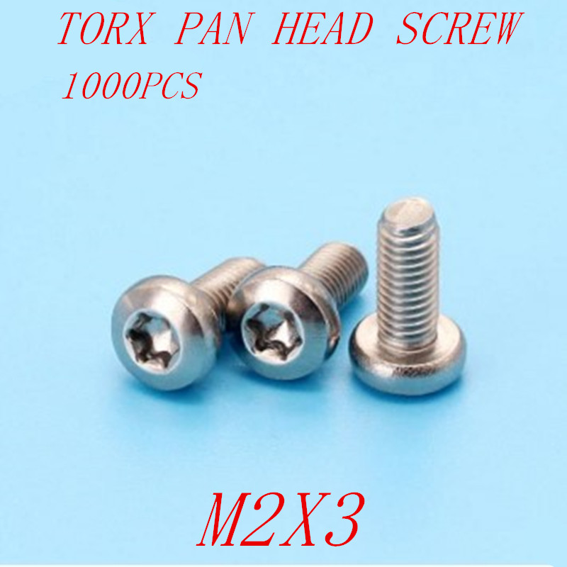 1000pcs <font><b>m2</b></font>*3 <font><b>M2x3</b></font> torx pan head six-lob machine <font><b>screw</b></font> image