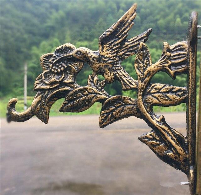 2 Cast Iron Bird Flower Bracket Wall Mount Garden Yard Home Decor Retro Metal Hook Hanger