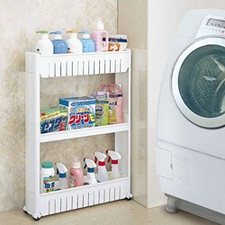 3 Tier Slide Out Storage Tower in Bathroom With Wheels