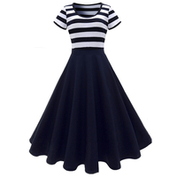Sisjuly Vintage Gril Dresses Summer Women Mini A Line Blue And White Stripes Short Sleeve Female