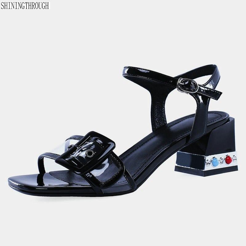 ladies 4cm med Heels Sandals woman genuine leather dress shoes woman Summer Shoes Woman