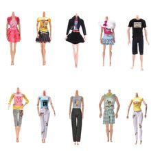 1c96ee466 Conjunto 1 Diária Casual Wear Blusa Camisa Calças Saia Roupas Para  Acessórios Da Boneca de Presente 14 estilos Handmade Moda Out.