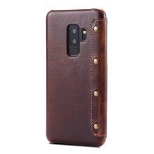 Solque Real Genuine Leather Flip Cover Case For Samsung Galaxy S9 Plus S 9 Cell Phone Luxury Retro Card Wallet Cases