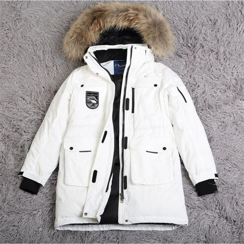 Зимние парки женские пуховая куртка натуральный мех воротник пальто с капюшоном Большие размеры обувь для мужчин и женщин ветрозащитные ут