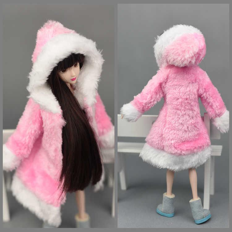 2017 Nuevo diseño de abrigo de felpa vestido de invierno traje de nieve ropa de moda ropa para 1/6 Kurhn Xinyi Barbie muñeca bebé juguete