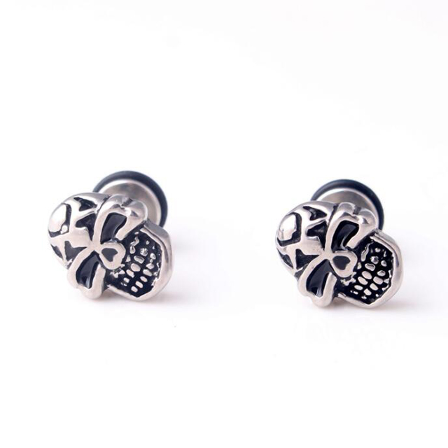 Personalized Gothic Stainless Steel Skull Club Men Earring