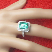Solid 14k white gold 8X10mm Treated emerald Diamonds Engagement Wedding Ring