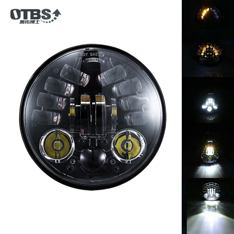 OTBS 70W 5.75 Inch Headlight White DRL Yellow Turn signal lights For Harley Sportster Dyna 5 3/4 Round Led Headlamp