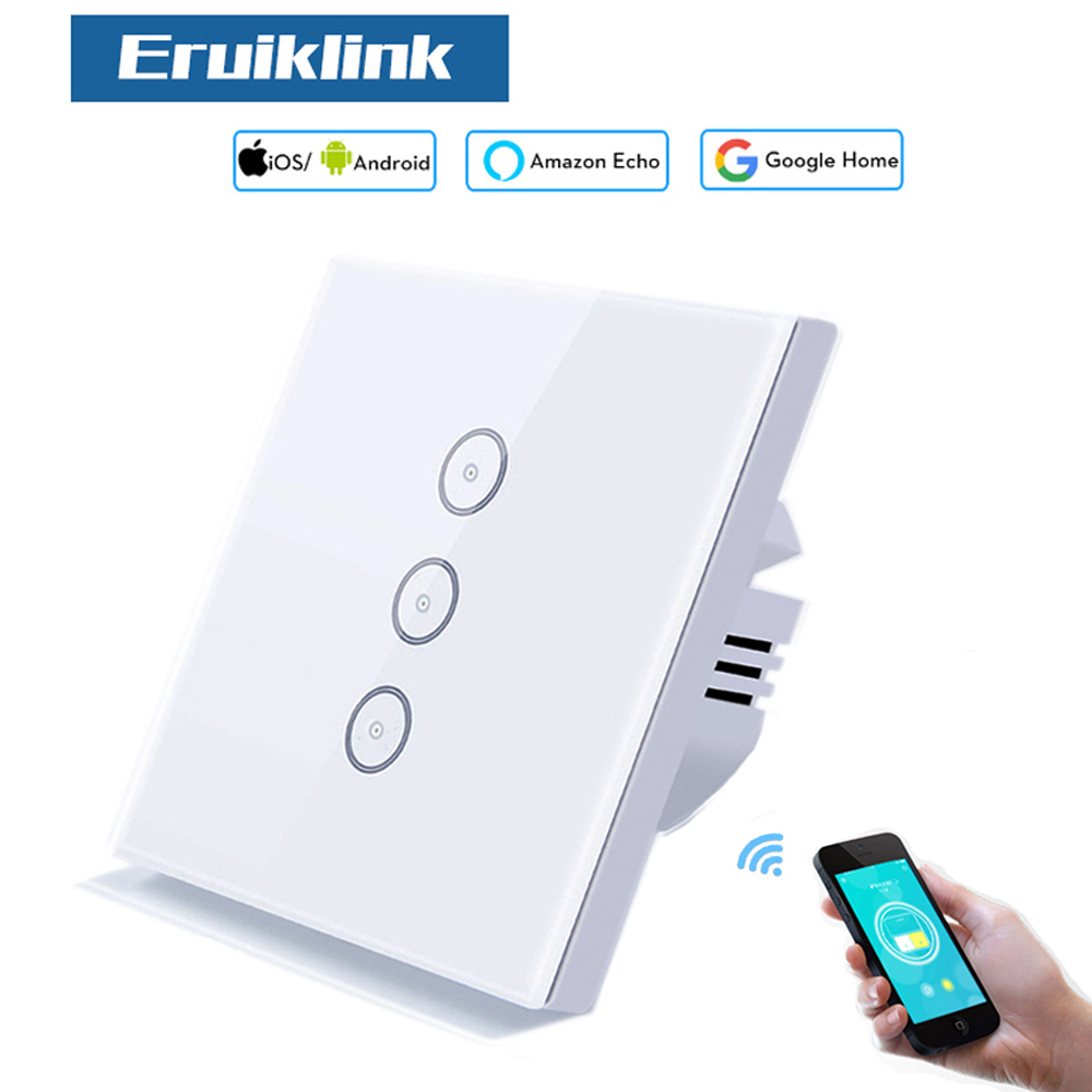 цены Eruiklink EU Standard Light switches WiFi 3 Gang Crystal Glass Touch Screen Wall Smart Switch works with Alexa and Google Home