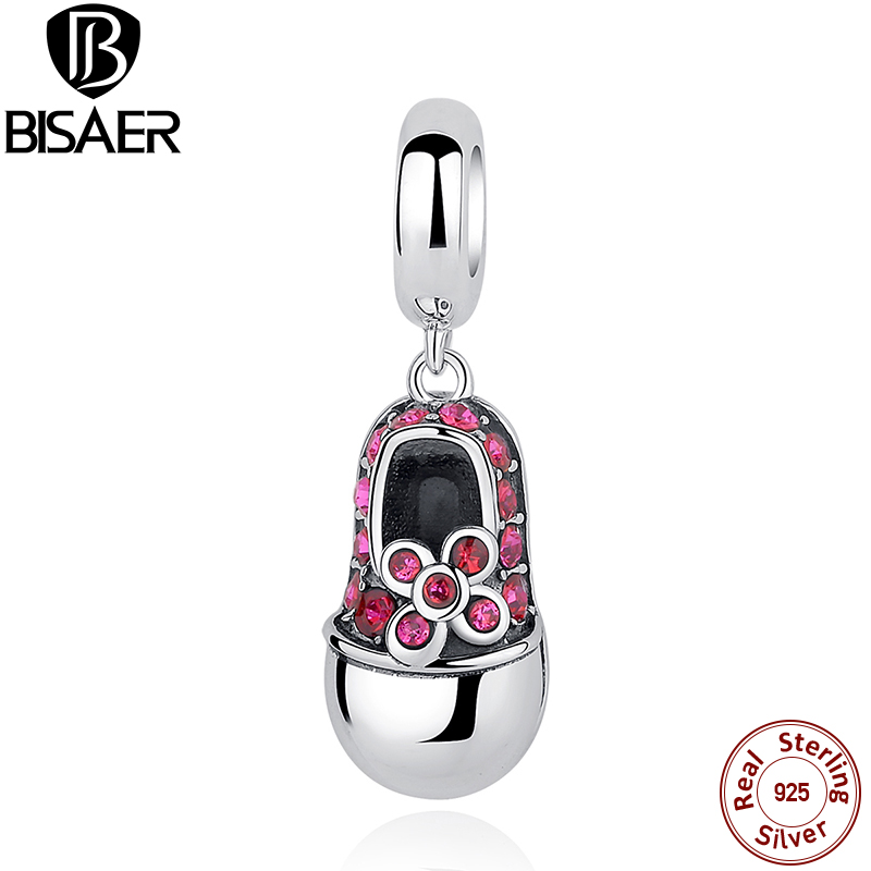 Summer Style 925 Sterling Silver Pink Crystals Shoes Charms Fit BISAER Bracelet Necklace Women Jewelry ECC027