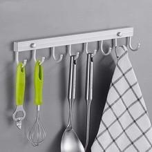Купить с кэшбэком Space Aluminum Kitchen Bathroom Hook Removable Hooks Kitchen Utensil Tools Hook Rack Holder Wall-mounted Storage Organizer E