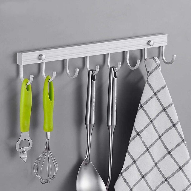 Kitchen Hooks Cabinets Pictures Space Aluminum Bathroom Hook Removable Utensil Tools Rack Holder Wall Mounted Storage Organizer E