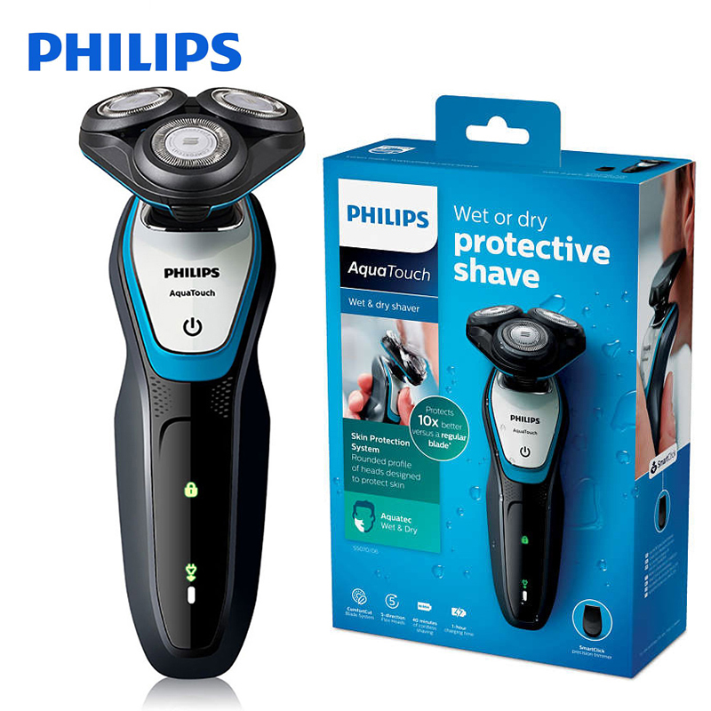 Philips Electric Shaver Washable S5070 with ComfortCut Blade System Aquatouch 40min Cordless Use/1h Charge for Men's Razor