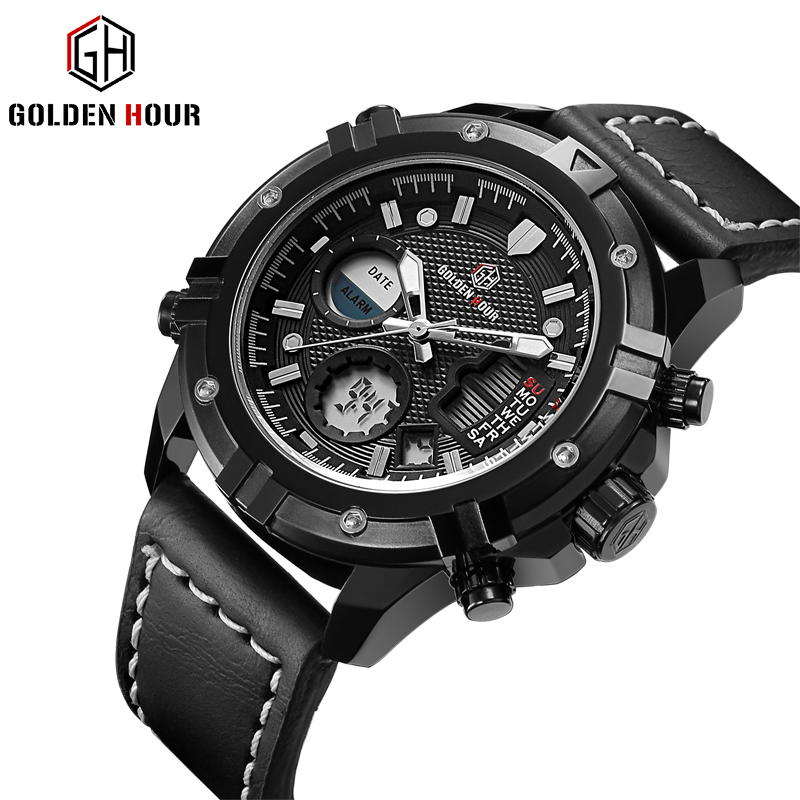 GOLDENHOUR Fashion Waterproof Military Outdoor Sports Quartz Watches Men Analog LED Digital Male Clock Leather Watch Black Brown ohsen outdoor casual men sports watch waterproof fashion digital quartz military army male clock men s watches reloj relojes405