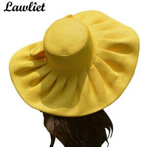 Image 3 - Saman UV koruma katlanabilir güneş şapkası kadınlar için Kentucky Derby geniş Brim düğün kilise plaj disket şapka yay detay A047