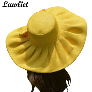 Image 3 - Straw UV protection Collapsible Sun Hat for Women Kentucky Derby Wide Brim Wedding Church Beach Floppy Hat Bow Detail A047