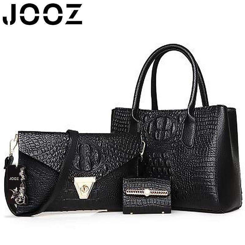 JOOZ Brand Luxury PU Leather Lady Bags Alligator Female Handbag 3 Pcs Composite Bags Women Shoulder Crossbody Bag Purse Clutches