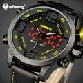 INFANTRY LED Analog Digital Top Luxury Brand Men Quartz Watch Multifunction Dual Time Watch Male Leather Clock Relogio Masculino