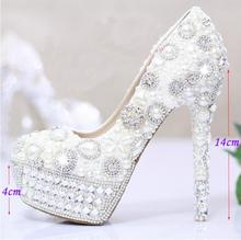 Luxury White Pearls Crystal Wedding Bridal Dress Shoes Closed Toe  Popular Shoes women Bridal  Dress Shoes