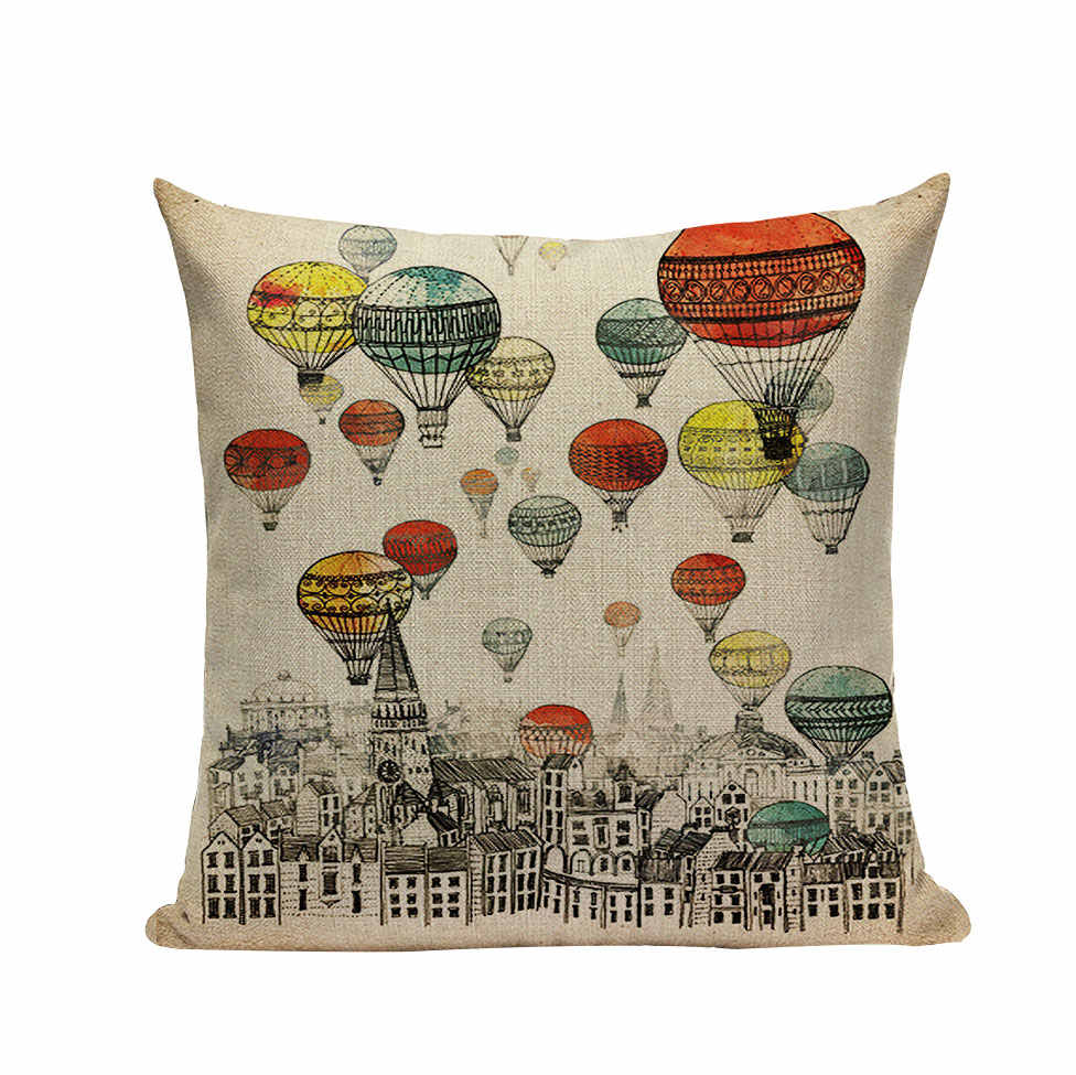 Hot Air Balloon Pillow Linen Cushion Decorative Pillows Christmas Decor  Throw Pillow For Home 45*45cm Almofada Cojines Decor