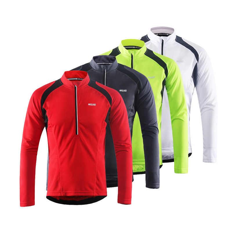 Camiseta de manga larga de ciclismo reflectante ARSUXEO para hombre con medio bolsillo trasero con cremallera transpirable para bicicleta MTB