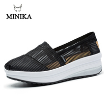 Minike Shoes Spring Sneakers Female Super Breathable  Fitness Slip On Height Increasing Mesh Walking Zapatillas Mujer Shoe