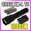 WF-502B CREE XM-L T6 1000 lm LED Flashlight  18650 Tactical Camping Hunting Torch & 2x 18650 4000MAH battery + EU charger kit