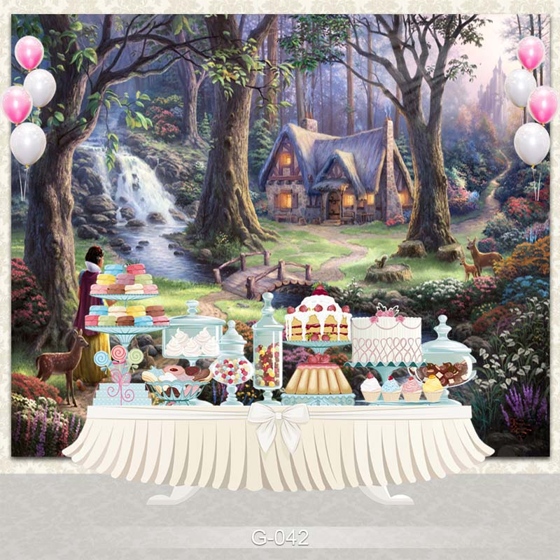 Vinyl Photography Backdrop Fairy Tale Princesses Snow White Birthday Party Personalized Photo Backdground G-042 vinyl photography background fairy tale