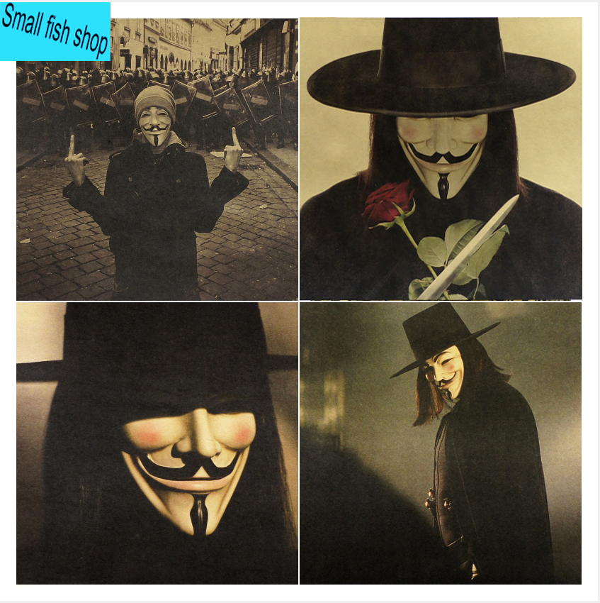 V for Vendetta Fawkes Gaye mask Hugo Weaving Home Furnishing decoration Kraft Movie Poster Drawing core Wall stickers image