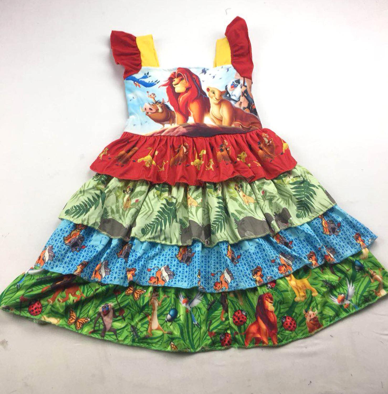 Cute girl movie Lion King pattern fashion word collar strap dress lion dress children's clothing