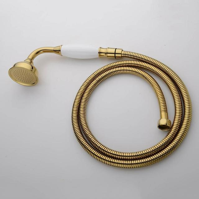 Free Shipping NEW Traditional Victorian Handheld Shower Head Handset With  Ceramic Handle Gold 03 028