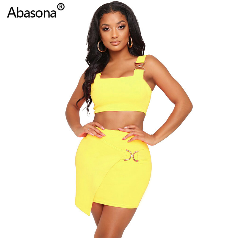 Abasona New Spaghetti Strap Short Top & Mini Midi Skirt Suit Fashion Sporty Two Piece Set Casual Outfit For Party And Club
