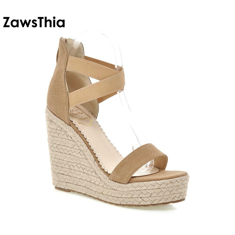 Zawsthia 2019 Summer Woman Wedges Sandals Fashion Mature High Heels Gladiator Platform Sandals -9144