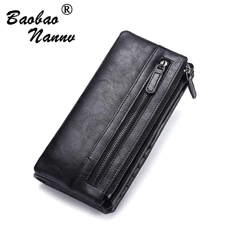 Soft Leather Long Men Wallets Vintage Business Male Wallet Fashion Purse Card Holder Large Capacity Clutch Wallets Detachable