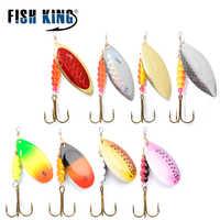 FISHKING 1 #-5 #4 pz/lotto lungo Spinner bait Spoon Esche Con Treble Ganci Peche Jig Anzuelos isca pesca