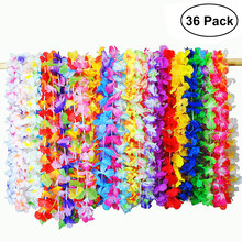 36 PCS Hawaiian Artificial Flowers Leis Garland Necklace Fancy Dress Hawaii Beach Flowers Party Decoration (Random Color)(China)