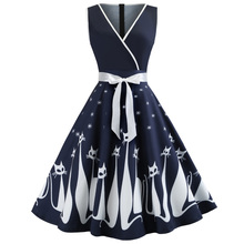 Kenancy Audrey Hepburn 1960s Party Dress Sexy V Neck Sleeveless Belts Women Retro Dress Cat Print Rockabilly Swing Vestidos Robe