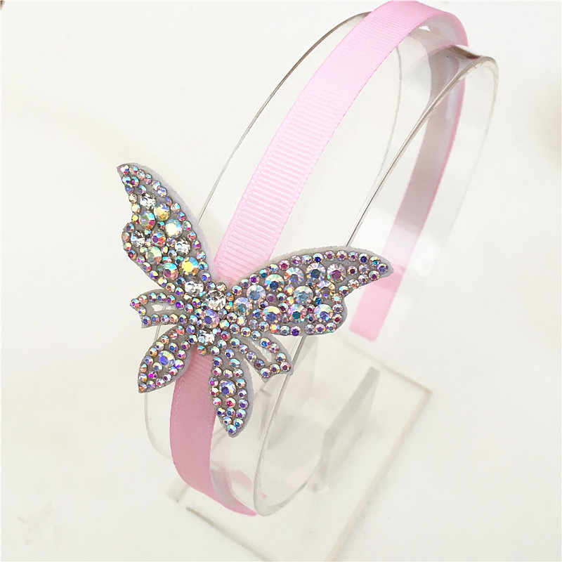 Children's Hot Sale Hair Band Butterfly Twinkling Hairpins Shiny Rhinestone Hairband For Lovely Head hoop for Hair Accessories